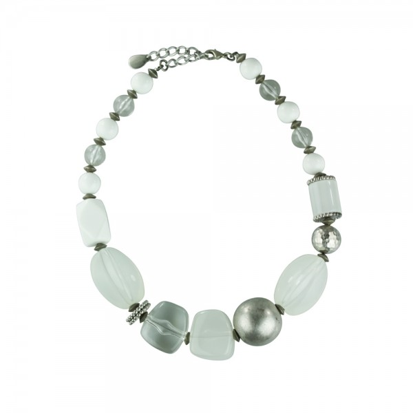 Necklace White & Crystal